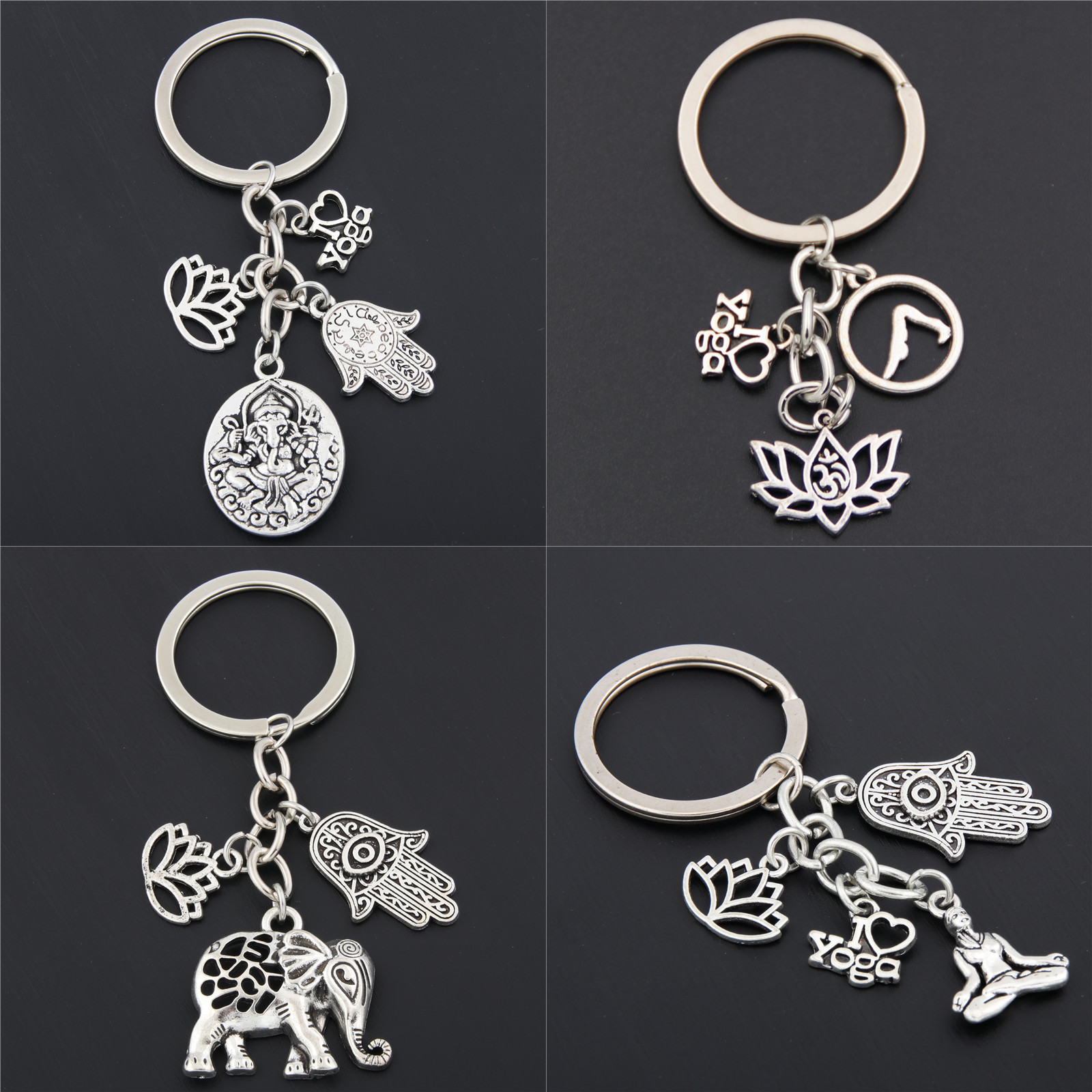 1pc I Love Yoga Namaste Charm Lotus Pendant Keychain Keyring Om Ohm Aum Jewelry Gift For Women Dropshipping