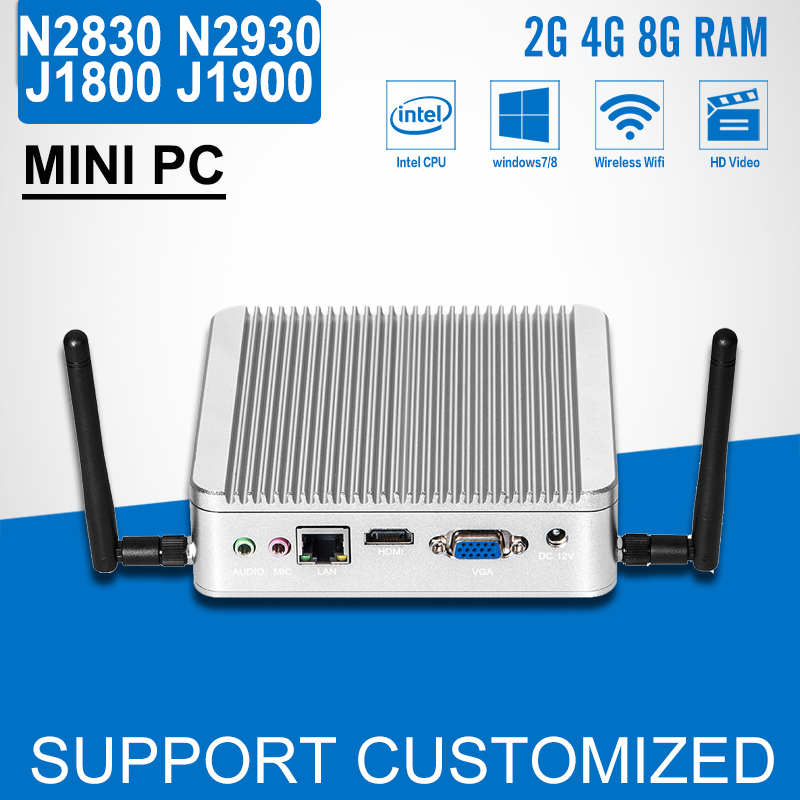 Fanless MINI PC desktop Computer celeron J1800 N2840 N2830 DDR3 RAM 8G SSD Optional J1900 N2930 PC Windows 7/8.1/10 low heat mini computer x26 1037u network industrial fanless desktop 4g ram 512g ssd support wireless mouse keyboard 2 lan