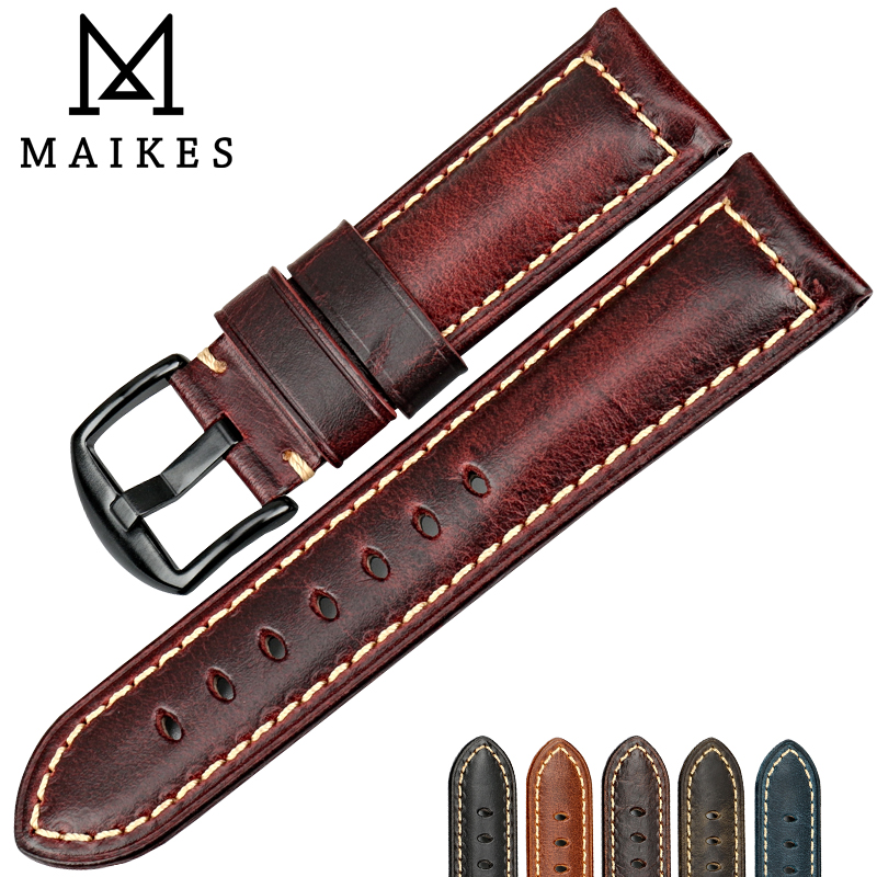 MAIKES Watch accessories fashion red watchband 20mm 22mm 24mm 26mm leather watch strap black buckle watch band for Panerai eache 20mm 22mm 24mm 26mm genuine leather watch band crazy horse leather strap for p watch hand made with black buckles