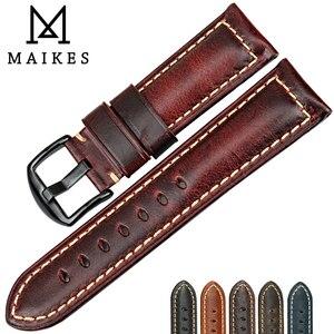 Image 1 - Maikes 시계 액세서리 패션 레드 시계 밴드 20mm 22mm 24mm 26mm 가죽 시계 스트랩 블랙 버클 시계 밴드 panerai 들어