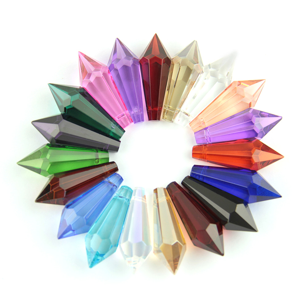 38mm 10pcs/50pcs/200pcs Colorful Crystal Glass U-drop Prism Chandelier Parts For Home Street Lighting Decoration Free Shipping