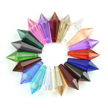 38mm 10pcs/50pcs/200pcs Colorful Crystal Glass U-drop Prism Chandelier Parts for Home Street Lighting Decoration Free Shipping(China)