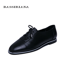 BASSIRIANA new spring genuine leather womens loafers flat shoes round head comfortable