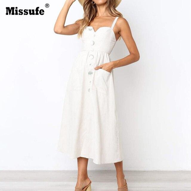 Missufe 5 Colors Midi Length Summer Dress Women Button Spaghetti Strap A Line Boho Sundress 2019 Casual Off Shoulder Beach Dress