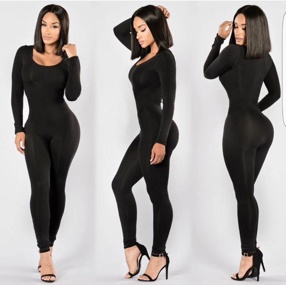 Long Sleeve O-Neck Long Pants Women   Jumpsuits   2019 New Fashion Sexy Bodycon   Jumpsuit   Black Solid Colors Rompers