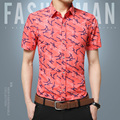 2017 Summer New Men Print Design Flower Short Sleeve Shirt Fashion Brand Clothing Casual Slim Business Work Men Shirt Big yards