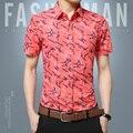 2017 Verão Novos Homens de Design de Impressão Flor Camisa de Manga Curta moda marca clothing casual trabalho negócio magro camisa dos homens grandes metros