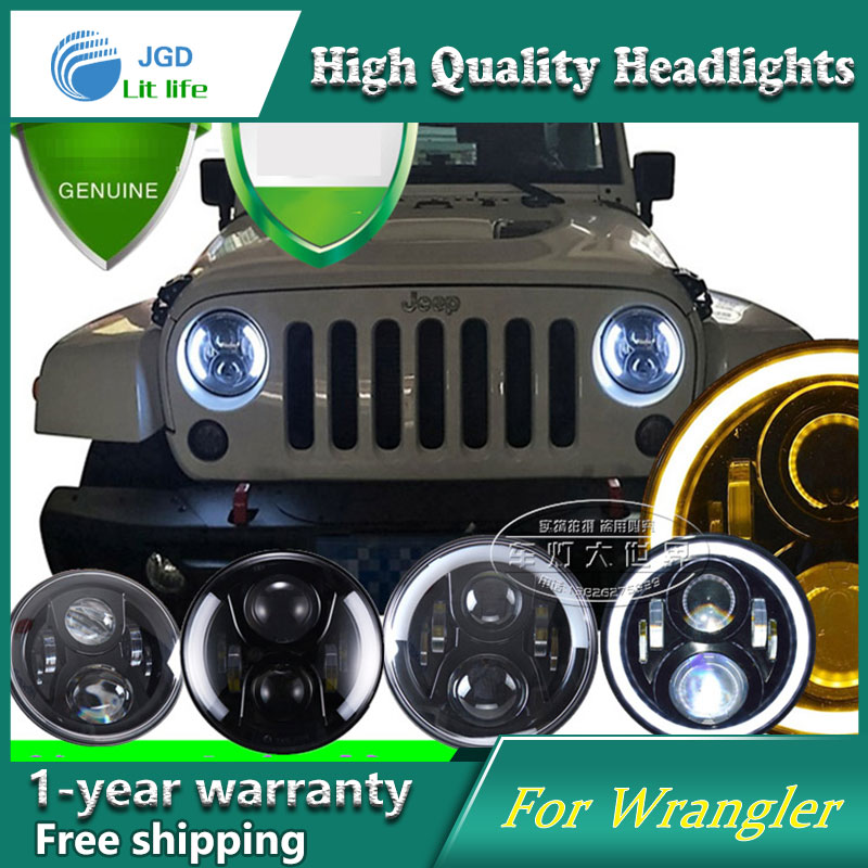 7 Inch Round Daymaker Projector H4 LED Headlight For Jeep Wrangler JK TJ LJ 7 Halo Angel Eye Turn Signal Light Driving Headlamp for jeep wrangler jk round 7 high low beam 50w led driving headlight for hummer offroad 4x4 7 inch daymaker headlamp angel eye