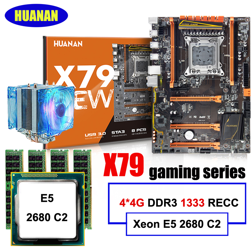 Nouvelle arrivée HUANAN ZHI deluxe remise X79 mère de jeux avec M.2 slot CPU Intel Xeon E5 2680 C2 2.7 ghz RAM 16g (4*4g) RECC