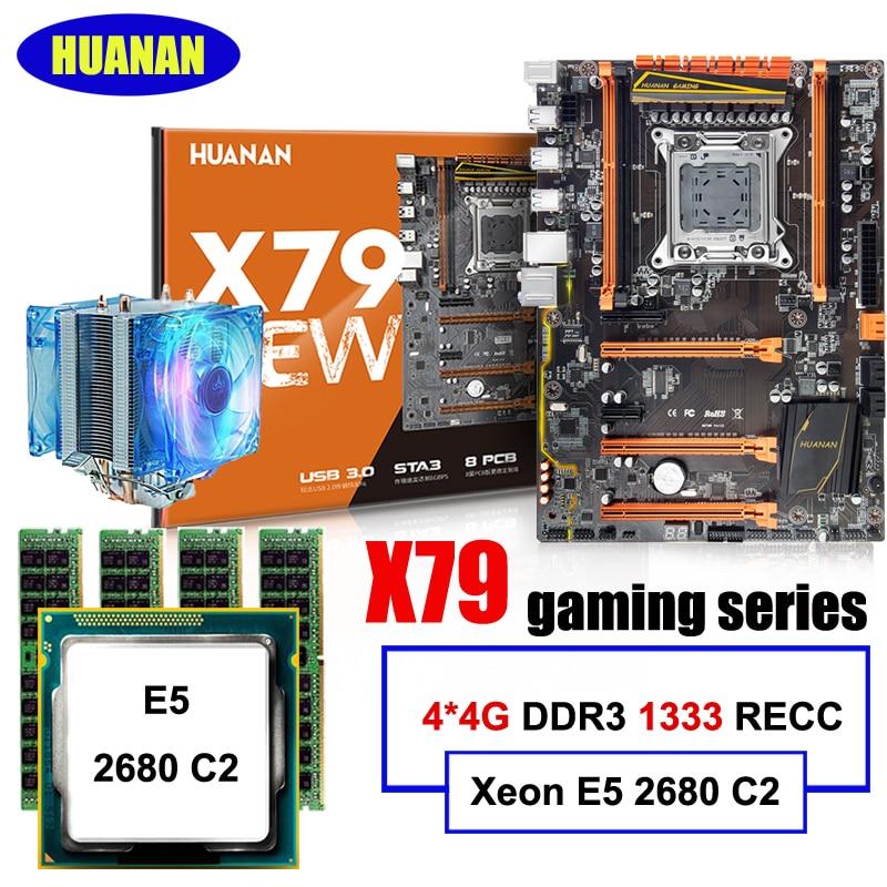 Nuovo arrivo HUANAN ZHI deluxe sconto X79 scheda madre di gioco con M.2 slot CPU Intel Xeon E5 2680 C2 2.7 GHz RAM 16G (4*4G) RECC