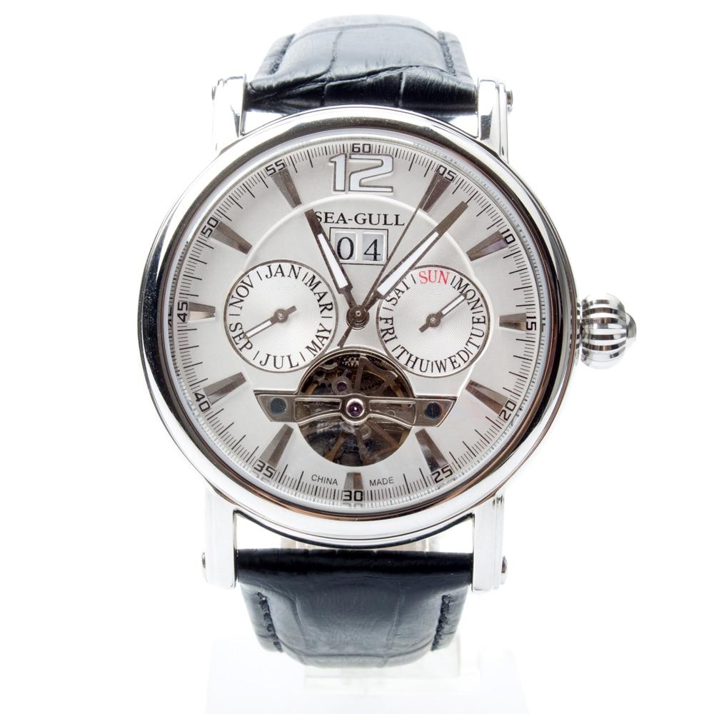 Genuine Seagull Full Calendar Grande Date Flywheel Onion Crown Exhibition Back Automatic Men's Watch Sea-gull M307S