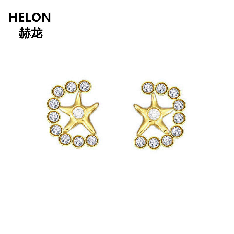 Solid 10k Yellow Gold Engagement Wedding Women Earrings Anniversary Gift 0.17ct Natural Diamonds Stud Earrings Valentine Jewelry цена 2017