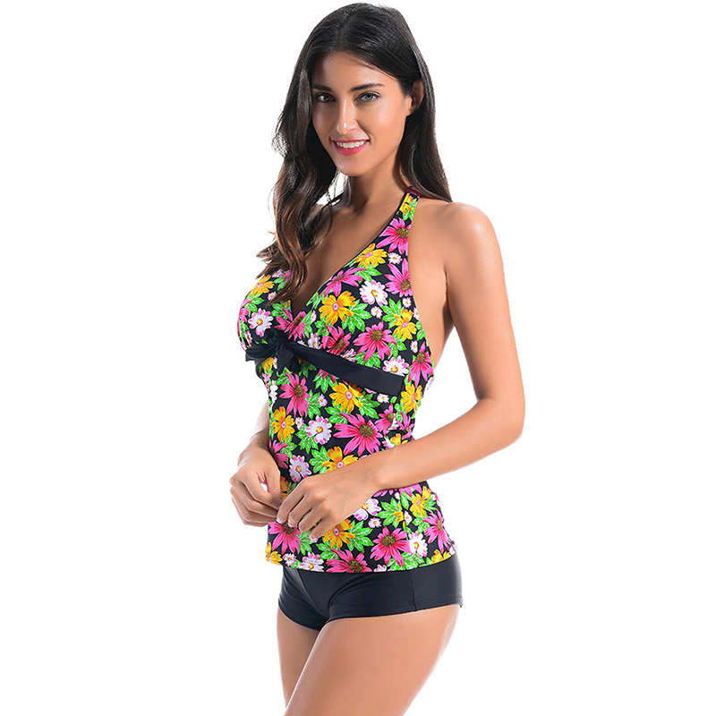 37df6f3312 Sunyokini Sexy Swimsuit Women Sport Swimwear Two Pieces Bathing Suit Deep V  Neck Backless Swimming Suits Female Printed Bodysuit-in Body Suits from  Sports ...