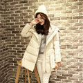 2017 New down jacket women A-Line cloak Korean winter long section of thick loose knit plus size hooded jacket warm coat MZ580