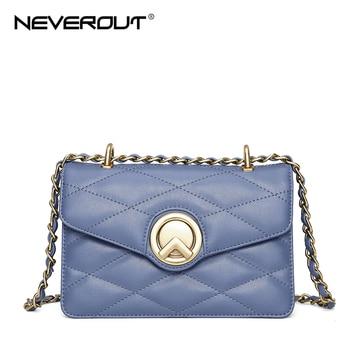 NEVEROUT Women Small Crossbody Bag Ladies Genuine Leather Flap Bags Classic Messenger Handbag Shoulder Purse Black/Blue/White