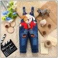 2015 crianças em geral roupas jeans recém-nascidos macacão jeans bebê bebe macacões para a criança/infantis meninos meninas bib calças 10-24 meses
