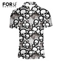 FORUDESIGNS Summer Mens Casual Polo Shirts Skull Dot Print Black Brands Clothing Man's Clothes Slim Homme Tops Short Sleeve 2017
