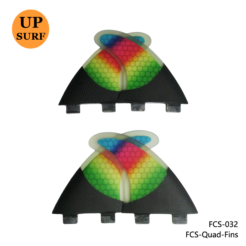 FCS Quad Fin Colorful Surfboard Fibreglass Fins FCS G5+K2.1 Quilhas Rainbow Honeycomb Fins