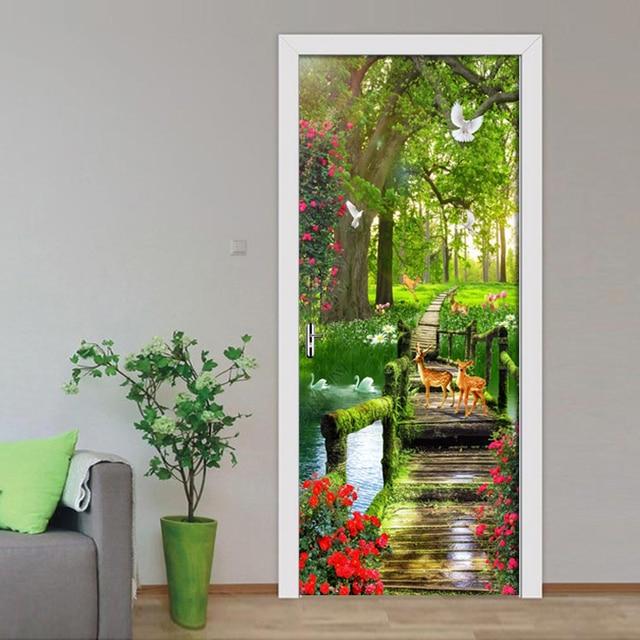 Фото водостойкие самоклеящиеся обои из пвх с зелеными лесными пейзажами