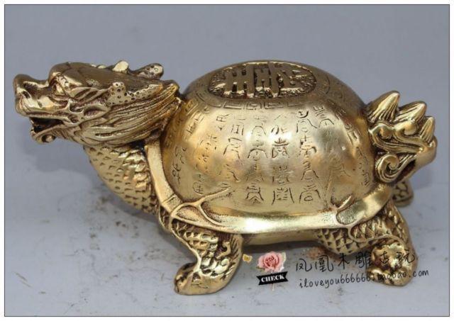 Statue de longévité de tortue de Dragon de cuivre de collection Antique de la chine