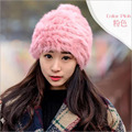 Big brand hot hat winter 2016 new hat ladies Korean fashion autumn winter pure hand-woven rabbit hair thick thick ball hat A235