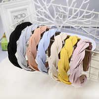 2019 Fashion Solid Tuch Quer Knoten Haarband Für Frauen Stirnbänder Mädchen Haar Zubehör Haar Haarband diademas para el pelo