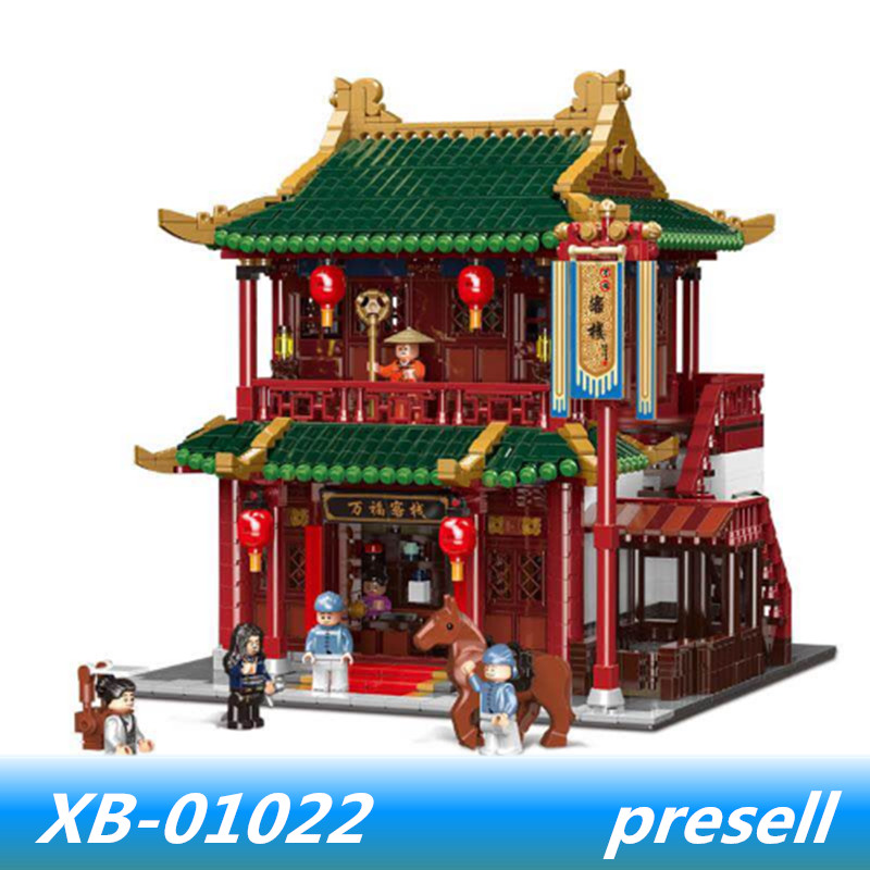 цена на XINGBAO 01022 3046Pcs Chinese Building Series The Wanfu Inn Set Building Blocks Bricks lepin Kids Toy Model Christmas Gift