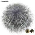 15 cm Genuine Silver Fox Fur Pompones Pompones de piel de Zorro Natural Bola de la Piel verdadera Accesorios para Bolsos Zapatos Sombreros Bufanda con Botones