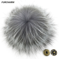 15cm Genuine Silver Fox Fur Pompons Natural Fox Fur Pom Poms Real Fur Ball Accessories for Hats Bags Shoes Scarf with Buttons