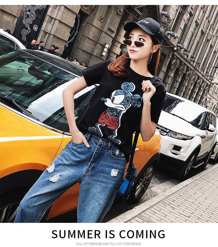2019 Summer New Women's T-shirt Fashion Casual Mickey Mouse Printing Round Neck Short Sleeve Loose Female Tshirts 8