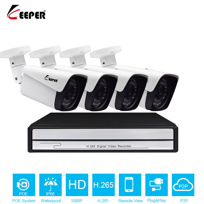 H.265 4CH POE 1080P NVR CCTV System 2.0MP Outdoor IP Camera HD 1080P NVR Recorder Video Security Camera Surveillance System ar 4453 фигурка лейка юнион