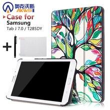 Caso de la cubierta de cuero magnética de LA PU del soporte del folio de la cubierta protectora shell funda para 2016 samsung Galaxy Tab J 7.0 T285DY + regalo libre