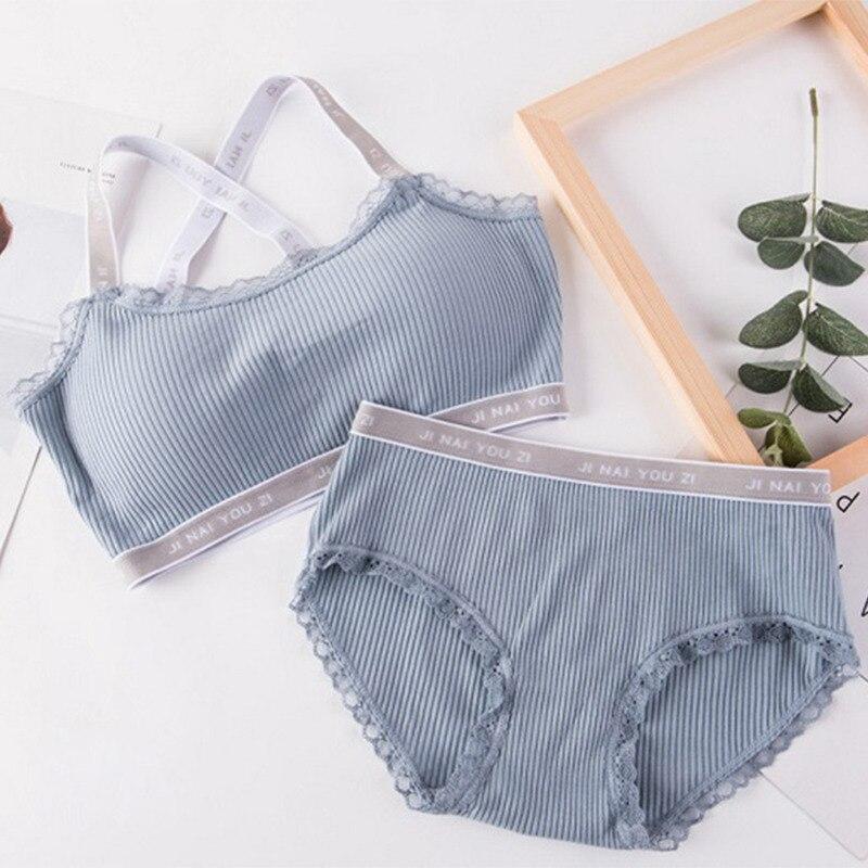 N 2018 Women Comfortable Wireless Lingerie Bra Set Letter Print Underwear Set