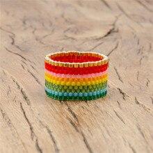 Shinus 10pcs/lot Miyuki Ring Summer Jewelry Rings For Women Boho Chic Gift Handmade Bohemian Colorful Anillos Mujer Gothic Bague