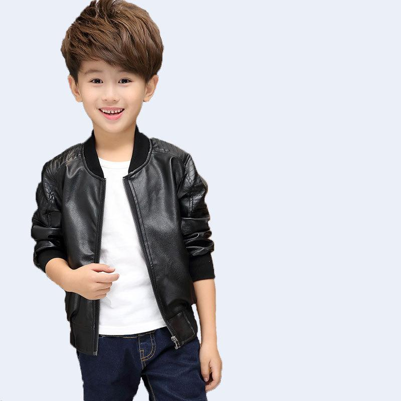Kids Boys Leather Jackets 2018 New Autumn Winter Solid Fashion O-neck Zipper Thicken Jackets For Boys Children Clothes 6jk018