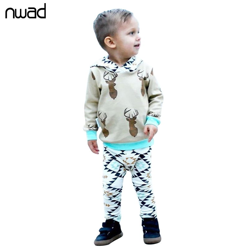 4bcb389d13a98 Deer Baby Boy Clothes 2017 Fashion Toddler Boys Spring Clothing Suit Hooded  Sweatshirt Tops+Pants Newborn Kids Outfits FF296-in Clothing Sets from  Mother & ...