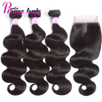 Pizazz бразильский Средства ухода за кожей волна волос, плетение 3 Связки с Синтетическое закрытие волос 4x4 средняя часть не Реми Человеческие ...