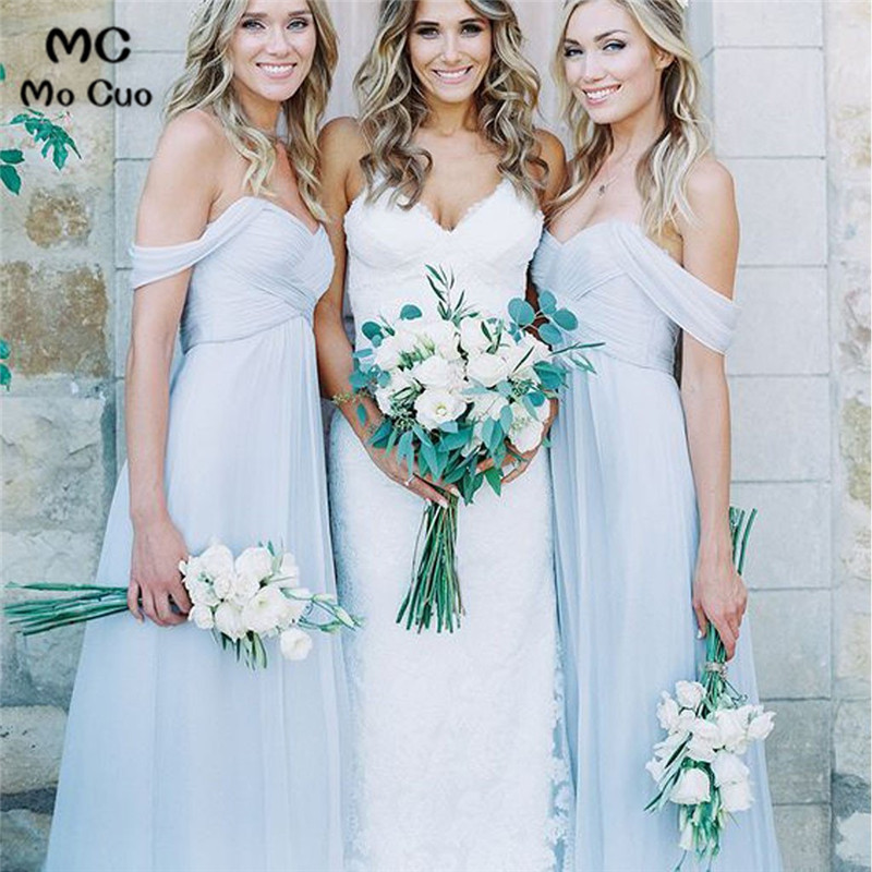 2019 Mismatched In Stock   Bridesmaid     Dresses   Long Formal Wedding Party   Dress   Short Sleeve Women Light Blue   Bridesmaid     Dress