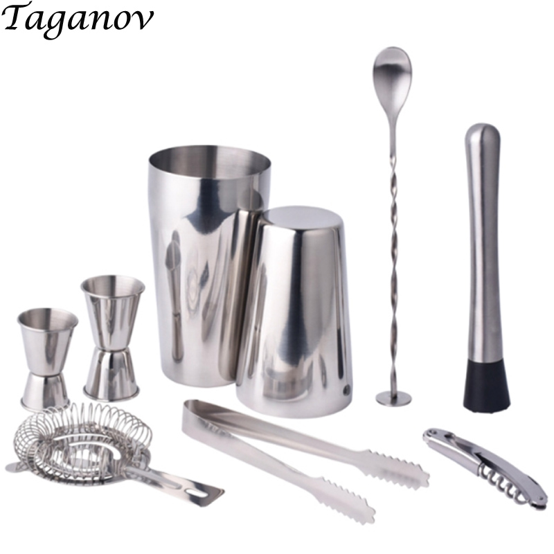 sake set Double shaker bar set Whisky bpa free Stainless steel 304 9-pieces Cocktail Shaker Mixer Professional Bartender tools