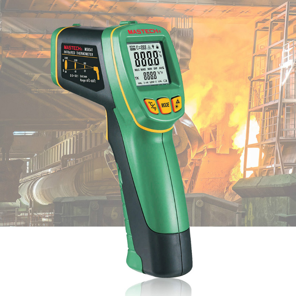 ФОТО MASTECH MS6541 Handheld Non-contact Infrared Thermometer Point Temperature Gun -50C~760C with K-type Thermocouple Temperature