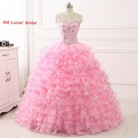 Pink 2017 Quinceanera Dresses For 15 Year Ball Gowns Ruffles Tiered Organza Vestido De 15 Anos