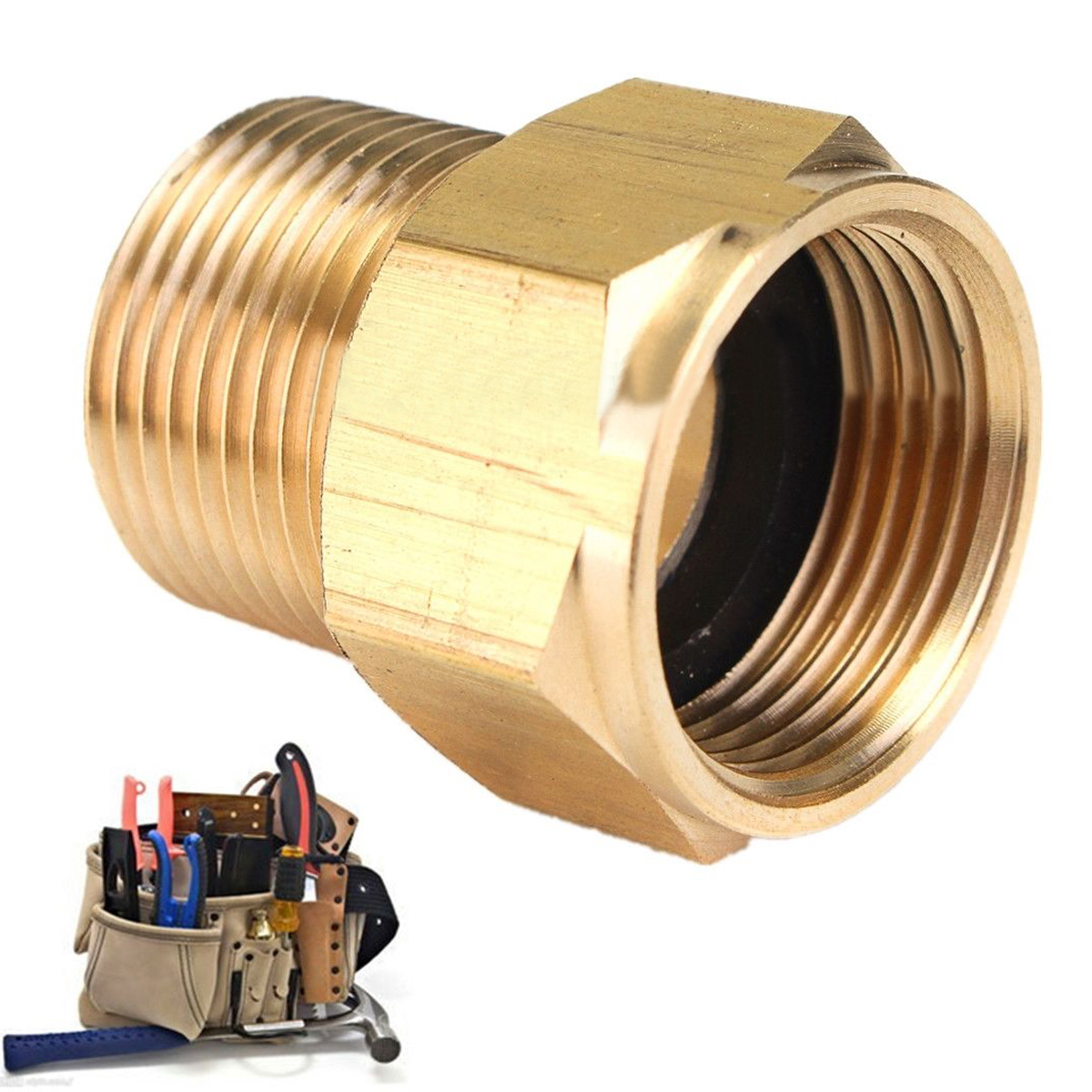 1pc Durable Brass M22 Male * M22 Female Hose Coupling Adapter Connector Screw Fittings For HD HDS Pressure Washer 31*14mm Mayitr 59 brass freon high pressure refrigerator of copper adapter connector female inner diameter 24mm to male 11mm
