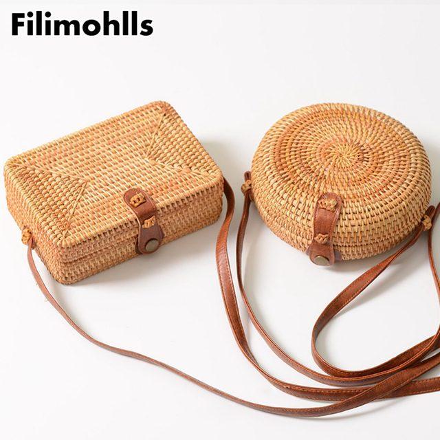 Summer Women Handmade Round Bamboo Handbags Rattan Bags Circle Box Bali Bohemian Beach Totes Knitting