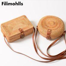 Summer Women Handmade Round Bamboo Handbags Rattan Bags Circ