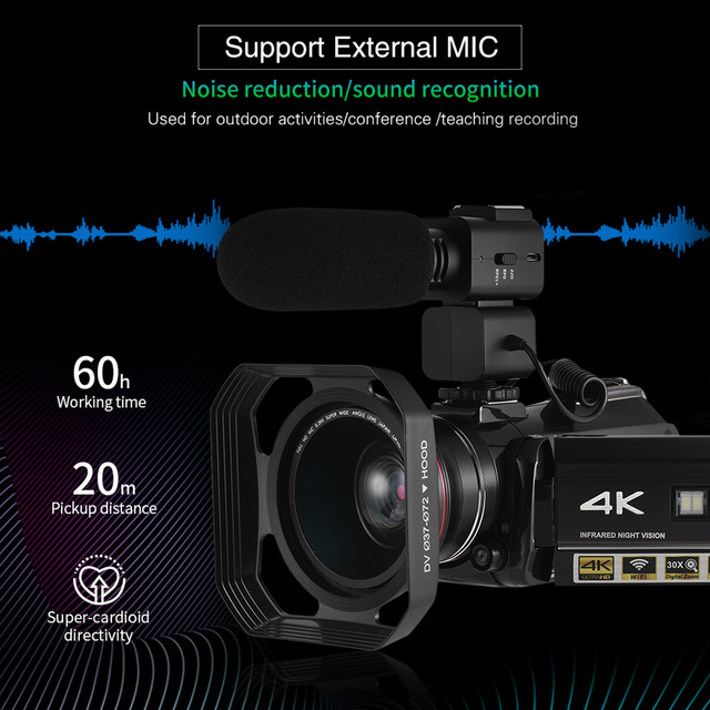 Andoer AC3 4K UHD Portable Digital Video Camera Camcorder DV Recorder 30X Zoom WiFi Connection 3.1 Inch IPS LCD Touchscreen 6