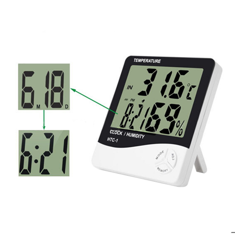 For HTC 1 High Accuracy LCD Digital Thermometer Hygrometer Indoor Electronic Temperature Humidity TimeClock font b