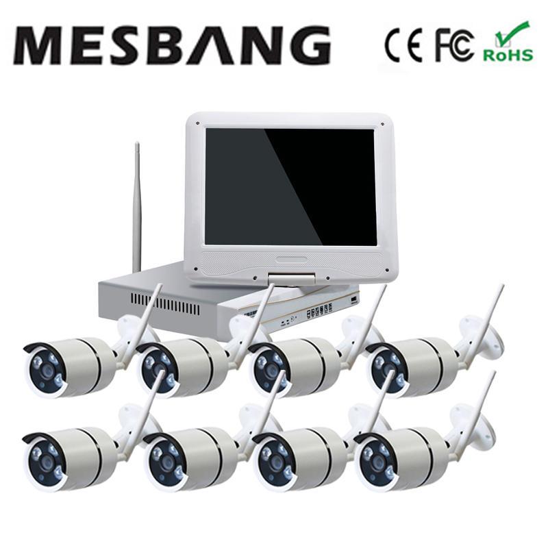 Mesbang 720P home cctv ip camera system  wireless  8ch nvr 10inch monitor  delivery by DHL Fedex free shipping mesbang 960p 8ch wifi wirless outdoor security system kit delivery with 7 inch monitor very fast by dhl fedex