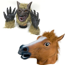 Halloween Horse Head Mask Party Essential Costume Theater Novelty Latex Horse Wolf Mask Many Halloween Cosplay Animal Mask latex wolf mask toy for halloween black