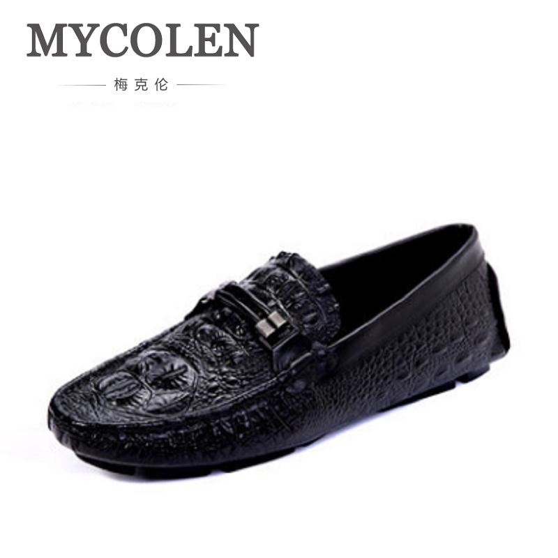MYCOLEN Men Shoes luxury Brand Blue Leather Crocodile Pattern Driving Shoes Men Loafers Moccasins Italian Shoes Men Flats mycolen mens loafers genuine leather italian luxury crocodile pattern autumn shoes men slip on casual business shoes for male
