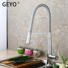 лучшая цена GEYO New Arrival Kitchen sink Faucet Mixer Cold and Hot water Kitchen Tap Single Hole Water Tap Zinc alloy torneira cozinha